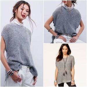 Free People Tatiana Short-Sleeve Pullover Gray XS